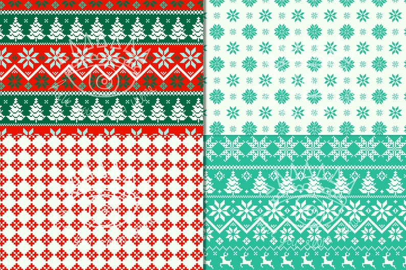 Retro Christmas Digital Paper Seamless Background Embroidery Winter Paper Pack