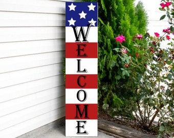 Patriotic 4th of July porch decor is some of my favorite home decor to shop for! Etsy is an especially great spot to find unique decor finds--and that includes patriotic porch decor. This patriotic welcome sign would look amazing on any home!