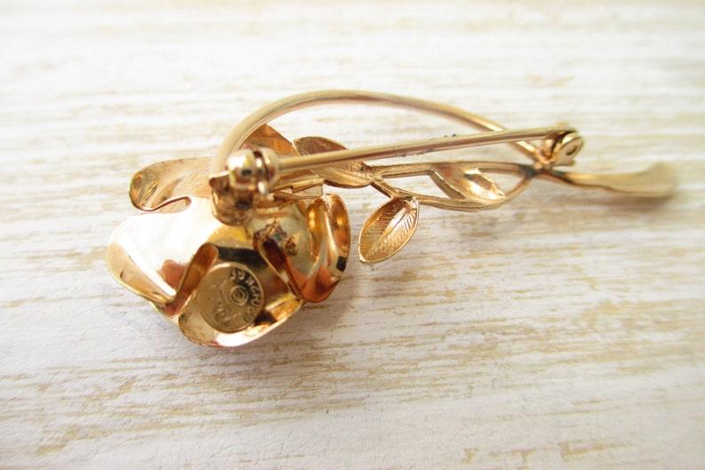 Vintage Jewelry MID Century Figural Rose Brooch Signed Circa 1960s Rolyn R Inc  1 20th 12 K Gold Fill  Flower Brooch,Vintage Brooch
