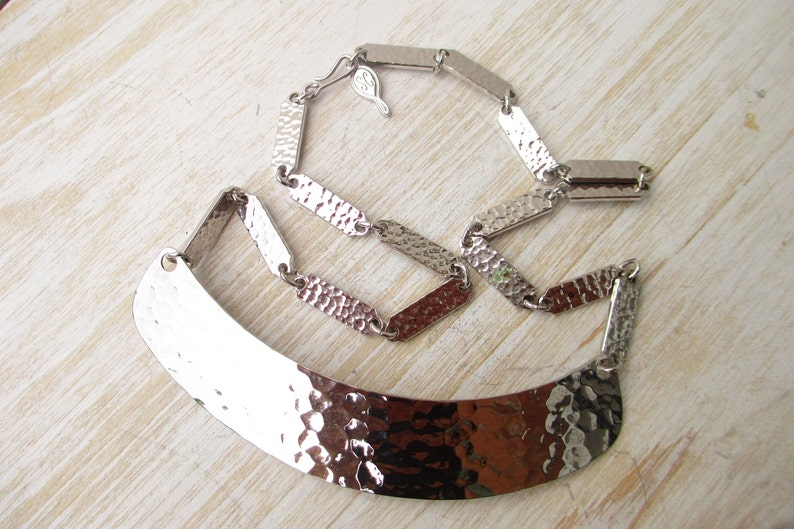 Vintage Sarah Coventry Necklace Silver Toned Decorative Graduated Rectangular Link Collar Pendant Charms 1960s