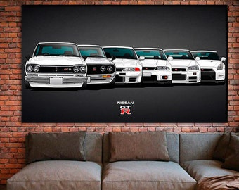 Evolution Nissan Skyline GTR 20x30 Inch Canvas Wall Art Picture Print Framed