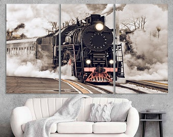 Vintage Train in Railway 4 Pcs Canvas Print Picture Wall Poster Home Decor