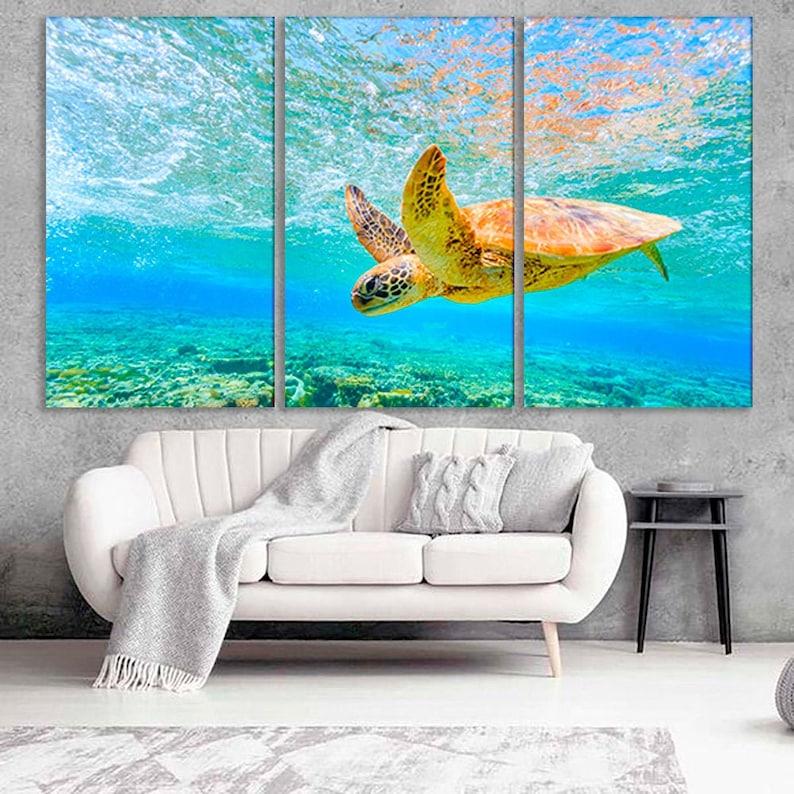 18. Turtle Ocean Print - Canvas Wall Art
