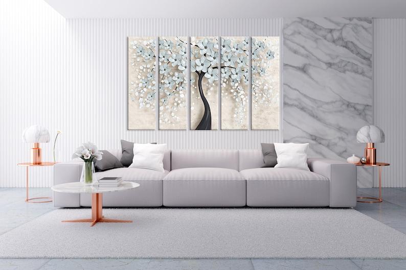 Poster White flowes print Home decor art Five Panel Canvas Luxury print art Flowers tree art Abstract wall art Abstract wall decor