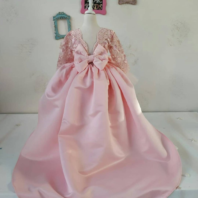 custom made dress for kid Baby girl dress for special occasion,pageant first birthday party dresses princess pink color dress for children