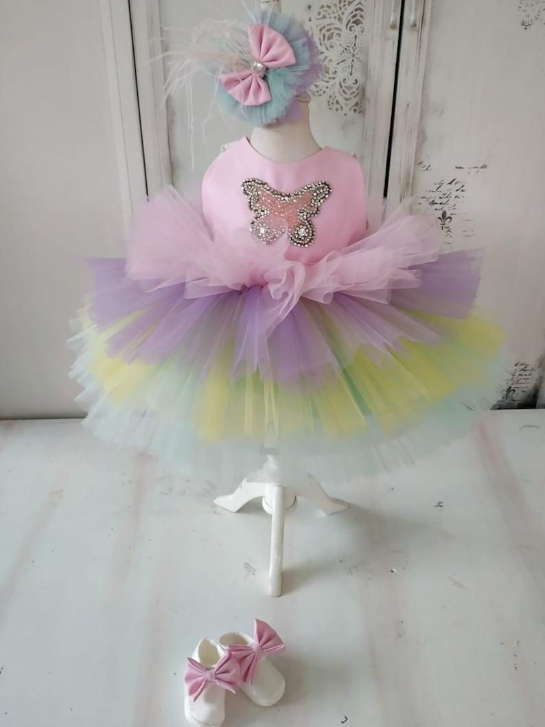 Rainbow baby girl dress toddler unicorn pageant tutu rainbow dress fancy baby cupcake pageant pink purple tulle dress