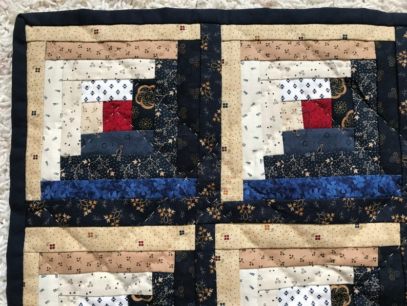 Art Quilt Log Cabin Miniature Hand Quilted Centerpiece Table Topper Dining Runner One-Of-A-Kind Gift D\u00e9cor Mini Wall Hanging Art Decoration