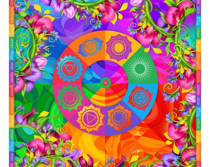 "Pure silk square scarf floral wrap ""Chakras"" - chakra symbols spiritual yoga gift scarves"