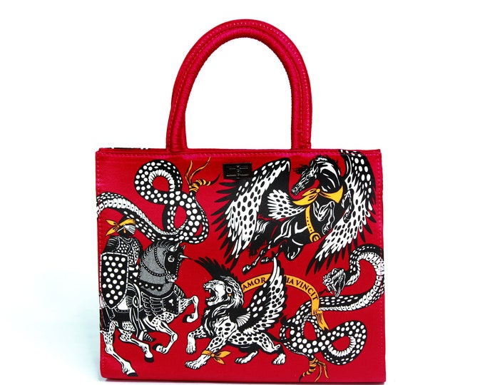 """Women's red black and white silk handbag, structured tote bag """"Myth"""" - classy vintage style purse"""