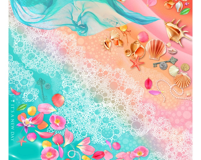 "100% silk square scarf turquoise teal floral wrap ""Tropical Beach"" - seashell, flowers beach wear"