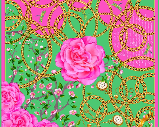 """100% silk square scarf pink / green """"Desire"""" rose, dragon fly, golden chain"""