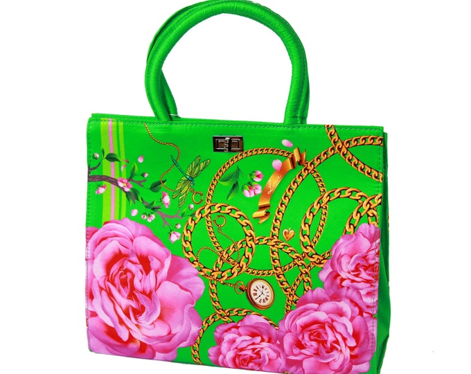 """Women's green and pink silk handbag, structured tote bag """"Desire"""" - classic vintage style purse"""