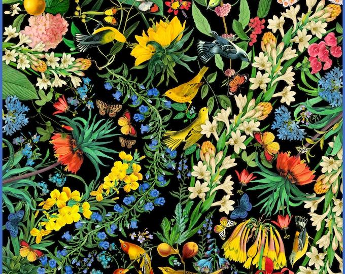 "100% silk square scarf wrap ""Garden of Eden"" black floral printed scarves, hand-rolled edges"