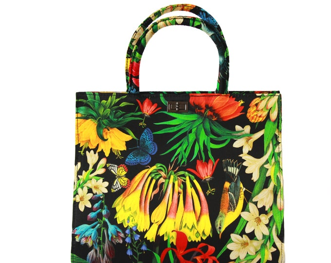 "Women's black floral silk handbag, structured tote bag ""Garden"" - classy vintage style purse"