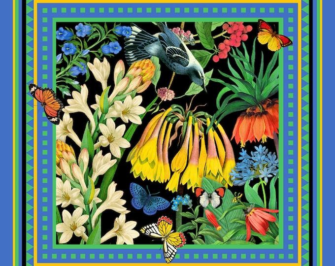 Garden - blue green floral small square silk neck scarf, bag scarf, neckerchief scarves