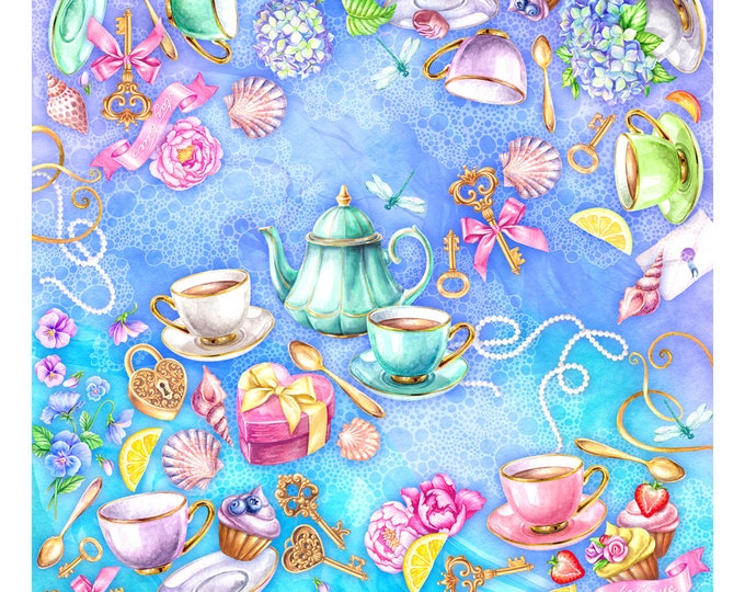 """100% silk square scarf turquoise tlilac floral wrap """"Believe"""" - Victorian tea party printed women's scarves"""