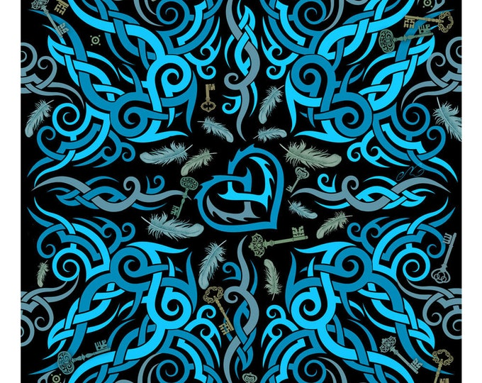 """100% silk square scarf black blue wrap """"Key To Freedom"""" - tribal tattoo design""""Never Give Up"""" printed scarfs"""