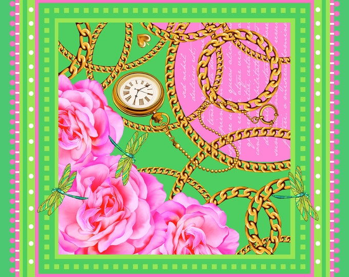 Desire - pink green small square silk neck scarf, neckerchief bag scarf, floral scarves
