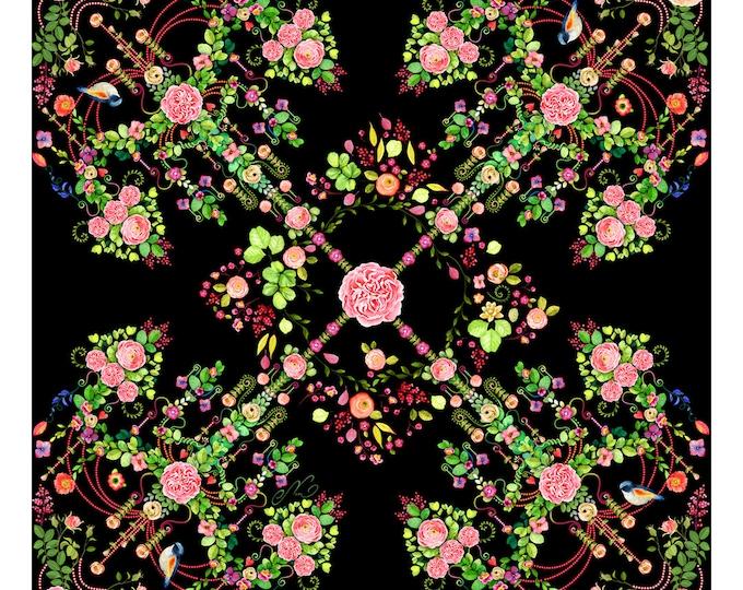 "100% silk square scarf floral wrap ""Flower Chandeliers"" - black Victorian print women's scarves"