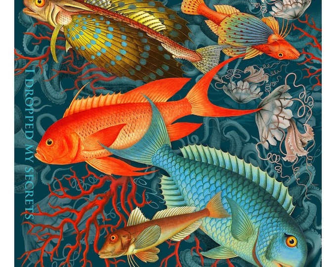 """Pure silk twill square scarf grey wrap""""Secrets"""" - tropical fish, jellyfish, coral reef printed women's scarves"""