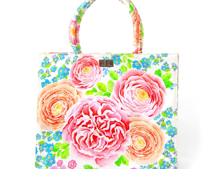 "Printed silk tote handbag, white / pink floral ""Spring"""