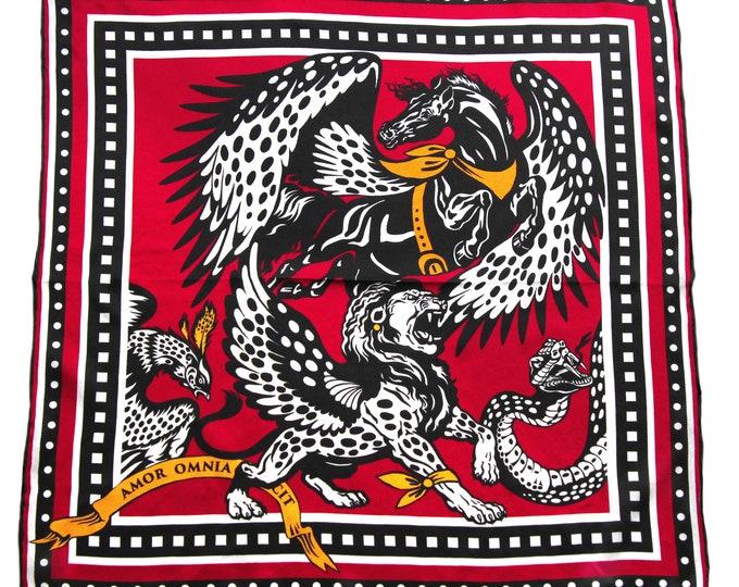 Myth - red black white small square silk neck scarf, bag scarf, neckerchief scarves