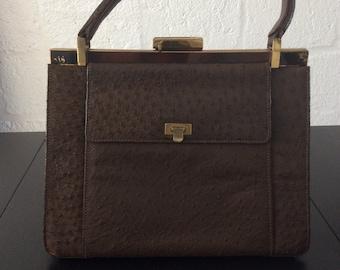 "502b82c6d Vintage ""Kelly"" handbag in brown ostrich leather"