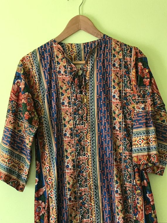 Vintage Boho Hippie Tunic Maxi Dress