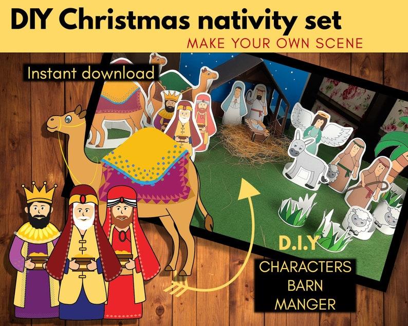 Christmas nativity scene printable DIY Nativity set Nativity image 1