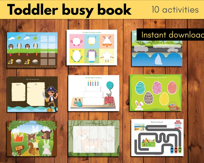 Toddler busy book with 10 activities learning binder image 0