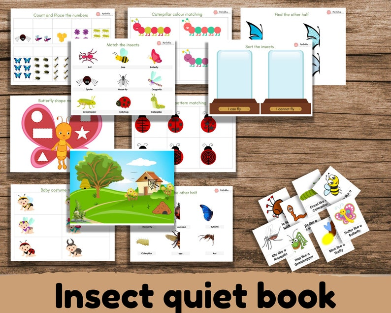 TODDLER BUSY BOOK Printable Insect Quiet book Toddler image 0