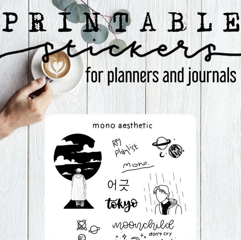 picture relating to Aesthetic Stickers Printable named Printable Mono RM Aesthetic Stickers / Bullet magazine stickers / Planner stickers / PDF