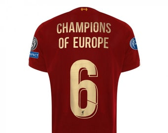 510e84a24252 Liverpool Champions of Europe, the 6 Champion UEFA league shirt ,Mo Salah  shirt , Anfield shirt 2019 ,LFC the Red shirt .