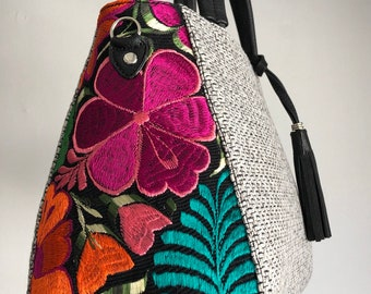 33af44b6a38c41 Leather Embroidered purse, crossbody bag, Mexican embroidered, colorful  handbag