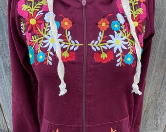 Sweater, Zip-up hoodie, Colorful Embroidered Mexican hoodie