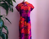 1970s Vintage Graphic Red Purple Floral Print Cheongsam Maxi Dress Large