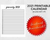 Printable 2021 Calendar, Yearly Calendar, US Letter, PDF, 2021 Calendar