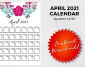 April 2021 Printable Calendar | US Letter | A4