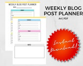 Weekly Blog Post Planner A4