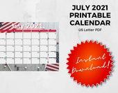 July 2021 Printable Calendar | US Letter | Landscape