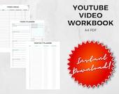 YouTube Video Workbook | A4 PDF