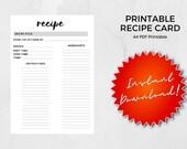 Printable Recipe A4, US Letter | Recipe Card | Fillable PDF