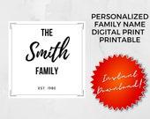 Personalized Family Name Digital Print | Custom Wall Prints | Custom Printables