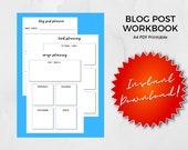 A4, Blog Post Planner, Blogging Worksheets, Printable Blogging Planner, Blog Planning Sheet, Fillable PDF