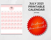 July 2021 Printable Calendar | A4 | Instant Download