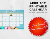 April 2021 Printable Calendar | US Letter | Landscape