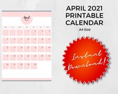 April 2021 Printable Calendar | A4 | Instant Download