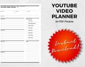 YouTube Video Script Worksheet, Video Template, YouTube Video Planner, Episode, Video, Video Kit, Fillable PDF