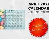 April 2021 Printable Calendar | A4 | PDF | JPG | PNG | Landscape