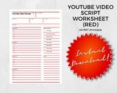 YouTube Video Script Worksheet, Video Template, YouTube Video Planner, Episode, Video, Video Kit